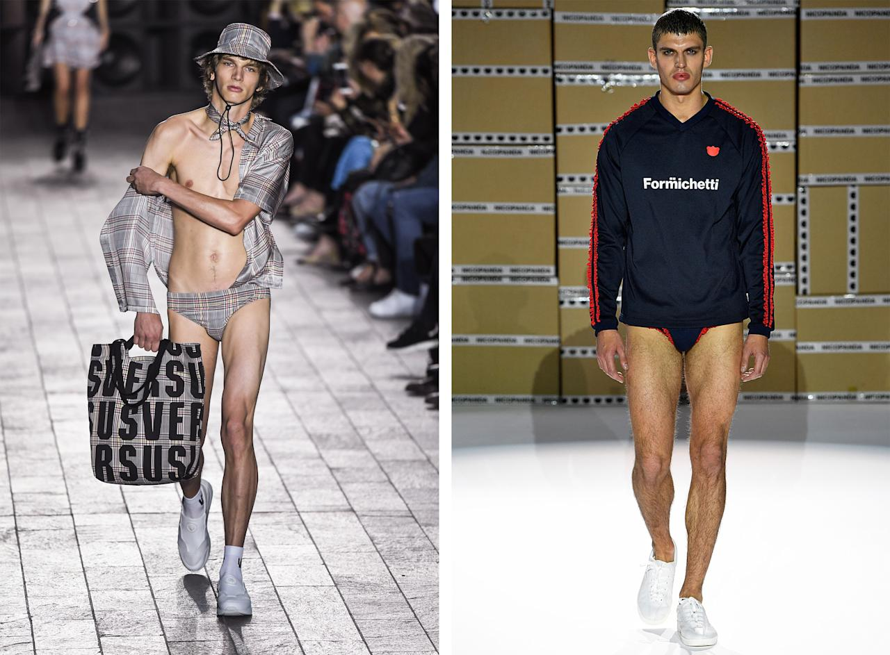 <p>Forget the women, it was male bodies that caught attention this London Fashion Week. A model at Versus Versace walked the packed out catwalk in nothing but a pair of checked briefs (and matching shirt and bucket hat) with Nicola Formichetti sending out a sporty pair of pants during his Nicopanda show.<br /><i>[Photo: Getty]</i> </p>