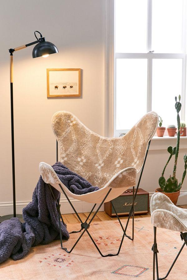 Printed Sherpa Butterfly Chair Cover