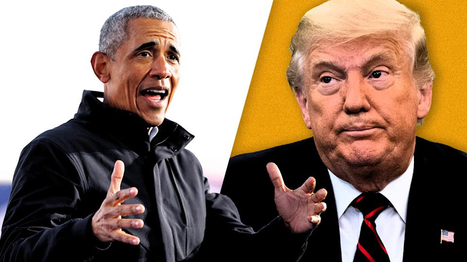 Former President Barack Obama and President Donald Trump. (Photo illustration: Yahoo News; photos: Brian Snyder/Reuters, AP)