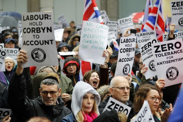 Britain goes to the polls on Thursday and accusations of anti-Semitism that have dogged Labour and its leader could well influence the overall result (AFP Photo/Tolga AKMEN)