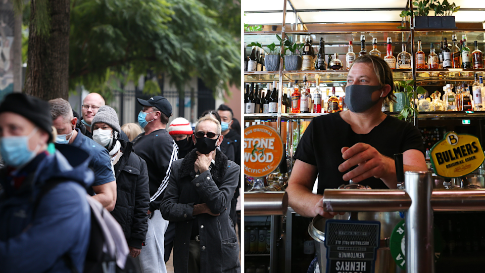 Sydney-siders stand on the street wearing masks and a man pours a beer at a pub.