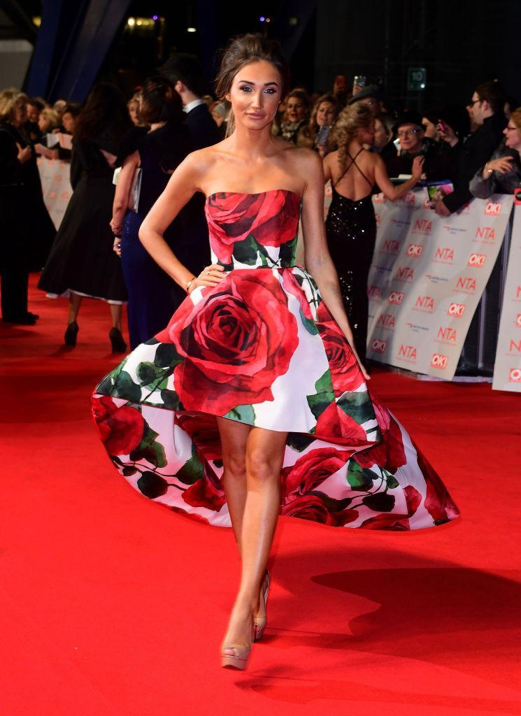 <p>For this year's National Television Awards, Megan McKenna demonstrated how to work winter florals in an asymmetric dress. <em>[Photo: Getty]</em> </p>