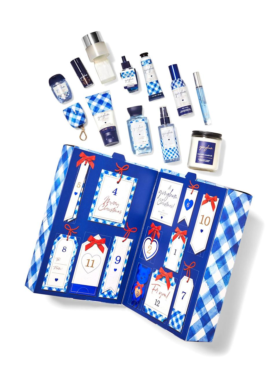 """<h3>Gingham Advent Calendar Gift Set</h3><br>If you're shopping for a Bath & Body Works stan, consider splurging on the hero gift: this adorable <a href=""""https://www.refinery29.com/en-us/2019/04/229871/bath-and-body-works-gingham-scent"""" rel=""""nofollow noopener"""" target=""""_blank"""" data-ylk=""""slk:gingham"""" class=""""link rapid-noclick-resp"""">gingham</a> advent calendar.<br><br><strong>Bath & Body Works</strong> GINGHAM Advent Calendar Gift Set, $, available at <a href=""""https://go.skimresources.com/?id=30283X879131&url=https%3A%2F%2Fwww.bathandbodyworks.com%2Fp%2Fgingham-advent-calendar-gift-set-025137999.html%3Fcgid%3Dgift-sets%23start%3D1"""" rel=""""nofollow noopener"""" target=""""_blank"""" data-ylk=""""slk:Bath & Body Works"""" class=""""link rapid-noclick-resp"""">Bath & Body Works</a>"""