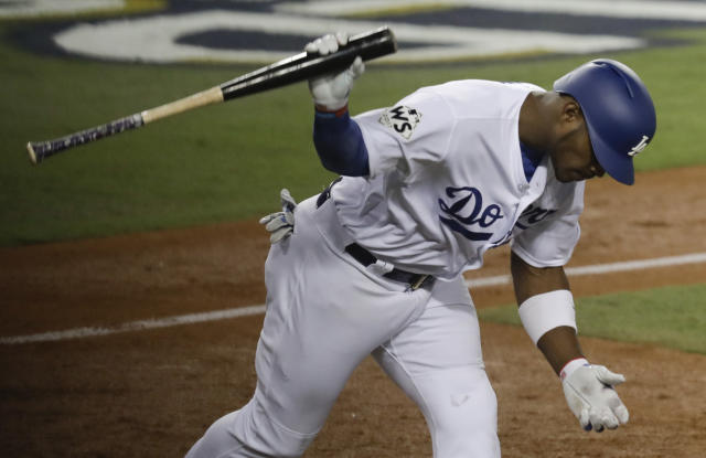 Yasiel Puig's home in Encino was reportedly robbed during Game 7. (AP Photo/Alex Gallardo)