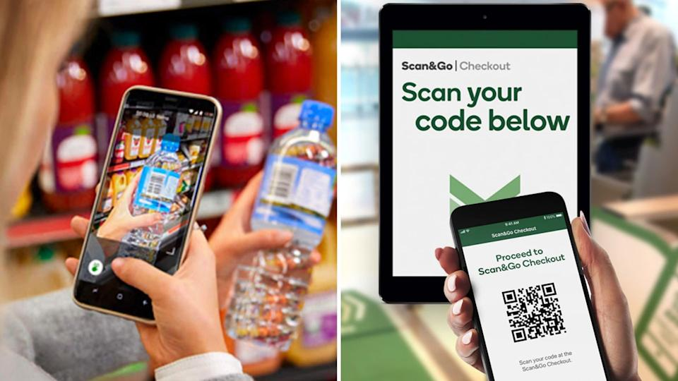 A woman scanning a bottle of water with Scan&Go app on the left, and a shopper passing through the Scan&Go checkout with a mobile phone. (Images: Woolworths)