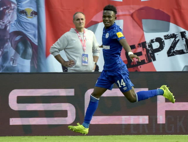 Schalke's Rabbi Matondo celebrates after scoring his side's third goal during the German Bundesliga soccer match between RB Leipzig and FC Schalke 04 in Leipzig, Germany, Saturday, Sept. 28, 2019. (AP Photo/Jens Meyer)