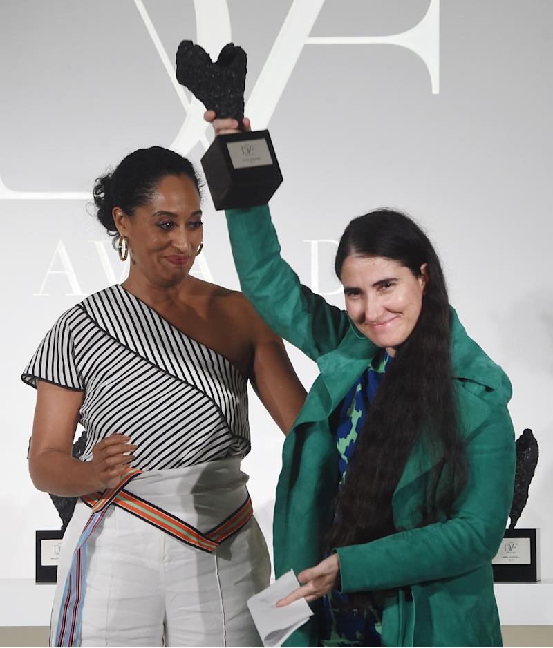 NEW YORK, NY - APRIL 06: Tracee Ellis Ross and award winner Yoani Sanchez pose onstage at the 2017 DVF Awards at United Nations Headquarters on April 6, 2017 in New York City. (Photo by Jamie McCarthy/Getty Images)
