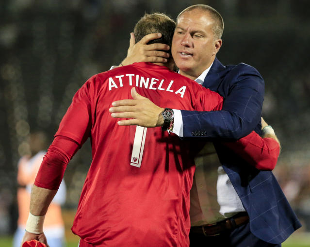 Giovanni Savarese will lead the Portland Timbers into the playoffs in his first season at the helm. (AP Photo/Jack Dempsey)