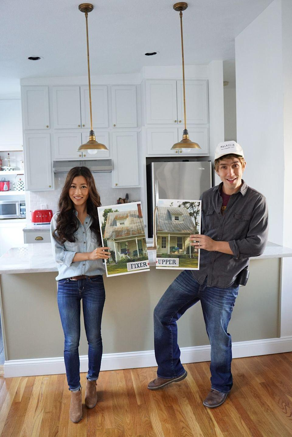 """<p>Because your party guests need more Chip and Joanna Gaines in their life now that <em>Fixer Upper </em>is off the air. This straight-from-your-closet costume will give them the Waco fix everyone needs. </p><p><em><a href=""""https://www.extrapetite.com/2016/10/easy-last-minute-couple-halloween-costume.html"""" rel=""""nofollow noopener"""" target=""""_blank"""" data-ylk=""""slk:Get the tutorial at Extra Petite »"""" class=""""link rapid-noclick-resp"""">Get the tutorial at Extra Petite »</a></em></p>"""
