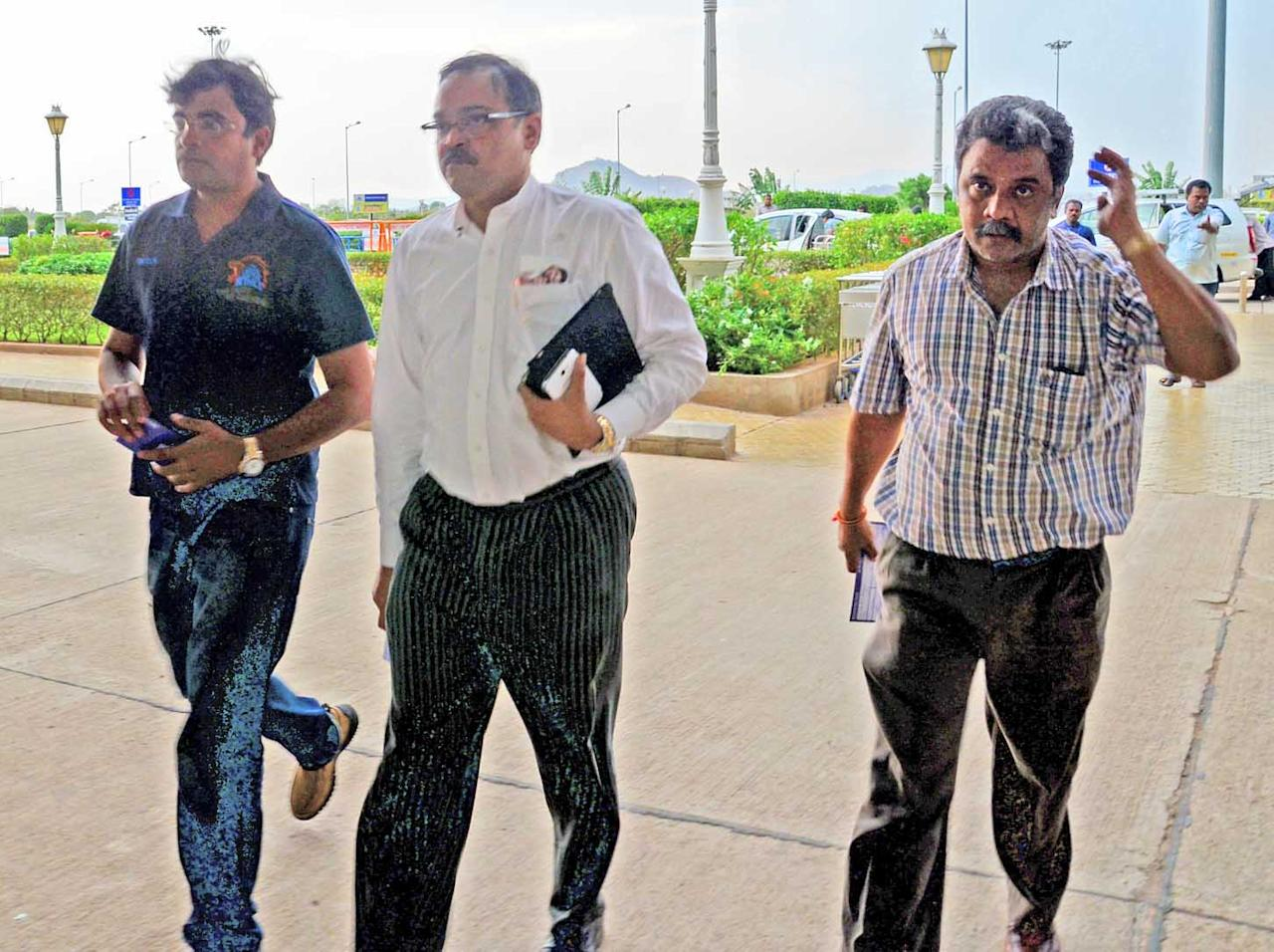 Gurunath Meiyappan, the son-in-law of BCCI chief N Srinivasan, at Madurai Airport, on May 24, 2013. (Photo: IANS)