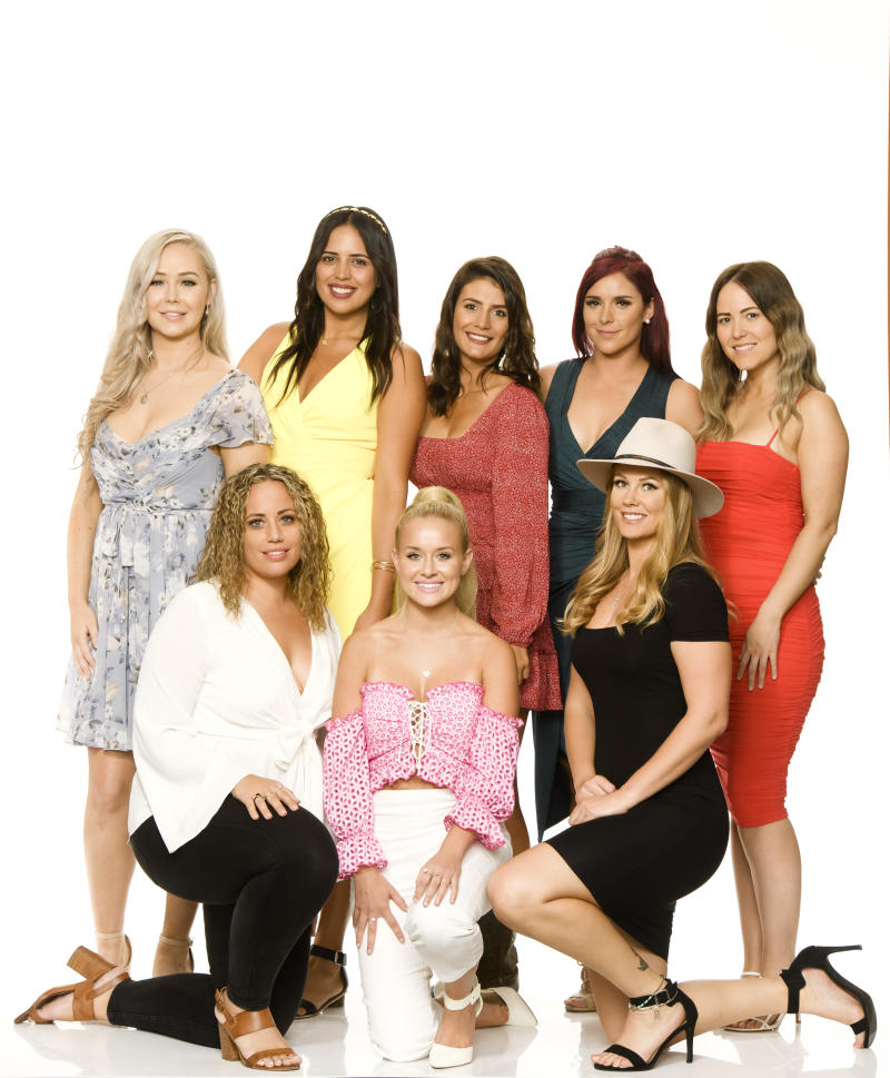 Farmer Harry's ladies on Farmer Wants A Wife 2020: (back row) Holly, 29; Karlana, 24; Stacey, 28; Sarah, 27; Jodie, 30 (front row) Kate, 29; Madison, 24; Ashleigh, 31.