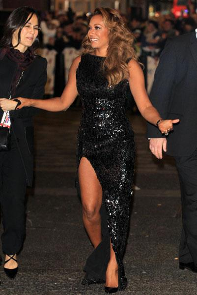 <b>Mel B at the Viva Forever! press night </b><br><br>The X Factor Australia judge wore a black sequinned gown with a thigh-high split teamed with a pair of black patent Louboutins.<br><br>© Rex