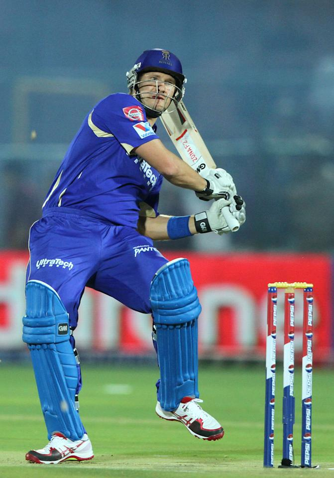 Rajasthan Royals player Shane Watson during match 8 of the Pepsi Indian Premier League ( IPL) 2013 between The Rajasthan Royals and the Kolkata Knight Riders held at the Sawai Mansingh Stadium in Jaipur on the 8th April 2013..Photo by Deepak Malik-IPL-SPORTZPICS ..Use of this image is subject to the terms and conditions as outlined by the BCCI. These terms can be found by following this link:..https://ec.yimg.com/ec?url=http%3a%2f%2fwww.sportzpics.co.za%2fimage%2fI0000SoRagM2cIEc&t=1498727209&sig=qJ9365MqfVVgSJZpKn4cWQ--~C