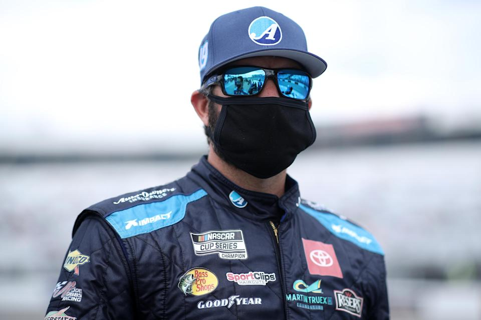 RICHMOND, VIRGINIA - APRIL 18: Martin Truex Jr., driver of the #19 Auto-Owners Insurance Toyota, waits on the grid prior to the NASCAR Cup Series Toyota Owners 400 at Richmond Raceway on April 18, 2021 in Richmond, Virginia. (Photo by Sean Gardner/Getty Images) | Getty Images