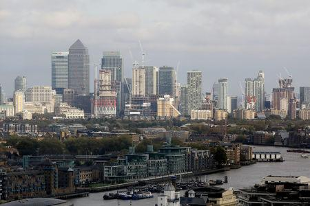 FILE PHOTO: General view of Canary Wharf financial district in London