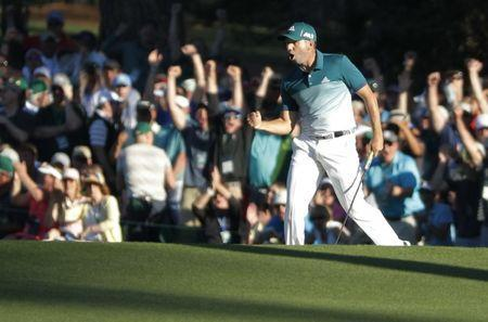 Sergio Garcia of Spain celebrates an eagle putt on the 15th hole in final round play during the 2017 Masters golf tournament at Augusta National Golf Club in Augusta, Georgia, U.S., April 9, 2017. REUTERS/Lucy Nicholson