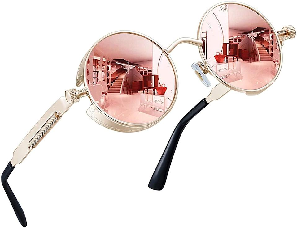 <p>These <span>Joopin Polarized Round Sunglasses in Pink Retro</span> ($15) are a 70's dream!</p>