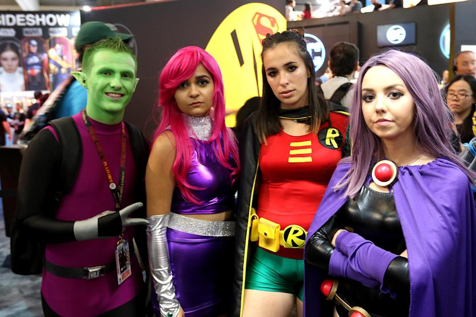 <p>Cosplayers dressed as <i>Teen Titans Go!</i> characters at Comic-Con International on July 21, 2018, in San Diego. (Photo: Angela Kim/Yahoo Entertainment) </p>