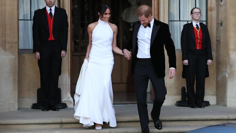Newlyweds Harry and Meghan leave Windsor Castle for their wedding reception at Frogmore House