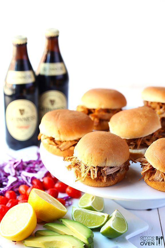 """<p>These sliders are the ultimate party eats.</p><p>Get the recipe from<span class=""""redactor-invisible-space""""> <a href=""""http://www.gimmesomeoven.com/guinness-pulled-pork/"""" rel=""""nofollow noopener"""" target=""""_blank"""" data-ylk=""""slk:Gimme Some Oven"""" class=""""link rapid-noclick-resp"""">Gimme Some Oven</a>.</span></p>"""
