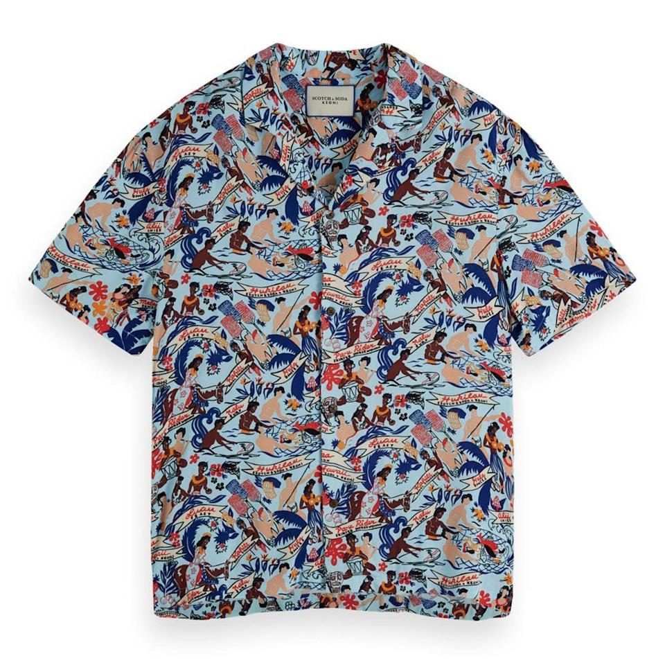 """<p><strong>Scotch & Soda</strong></p><p>nordstrom.com</p><p><a href=""""https://go.redirectingat.com?id=74968X1596630&url=https%3A%2F%2Fwww.nordstrom.com%2Fs%2Fscotch-soda-hawaii-button-up-camp-shirt%2F5580943&sref=https%3A%2F%2Fwww.esquire.com%2Fstyle%2Fmens-fashion%2Fg37002225%2Fnordstrom-anniversary-sale-mens-fashion-deals-2021%2F"""" rel=""""nofollow noopener"""" target=""""_blank"""" data-ylk=""""slk:Shop Now"""" class=""""link rapid-noclick-resp"""">Shop Now</a></p><p><strong>Sale: $59.90</strong></p><p><strong>After Sale: $98.00</strong></p><p>Wear it on vacation. Wear it at home. Wear it everywhere, honestly.</p>"""