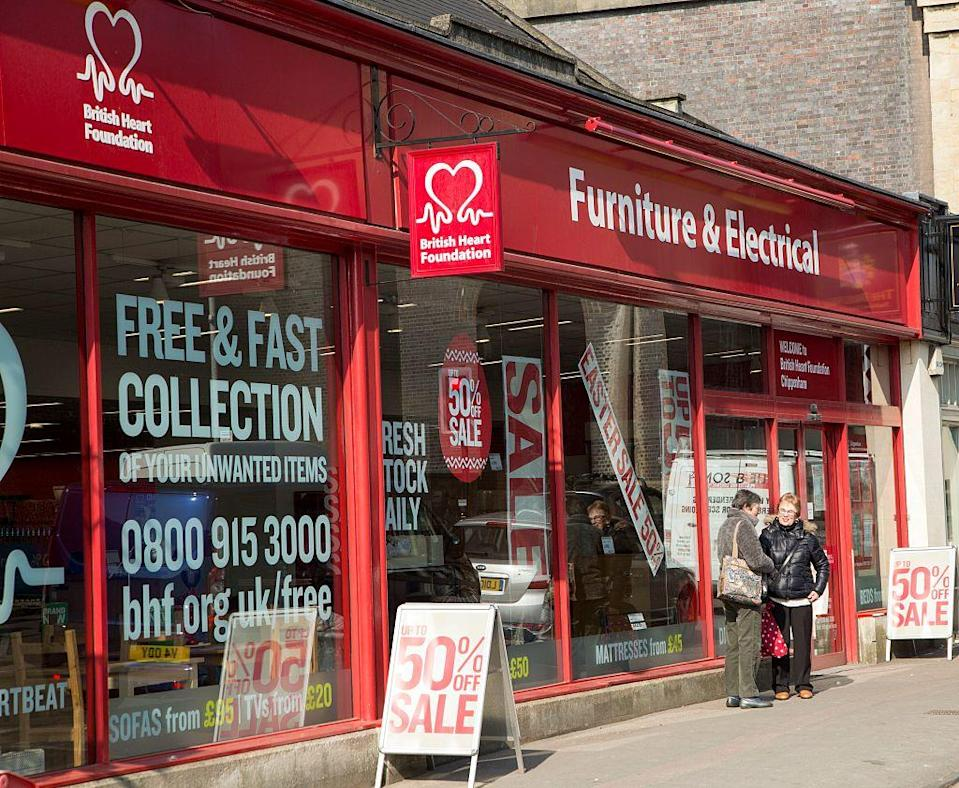 British Heart Foundation offers free collection for unwanted goods. (Getty)