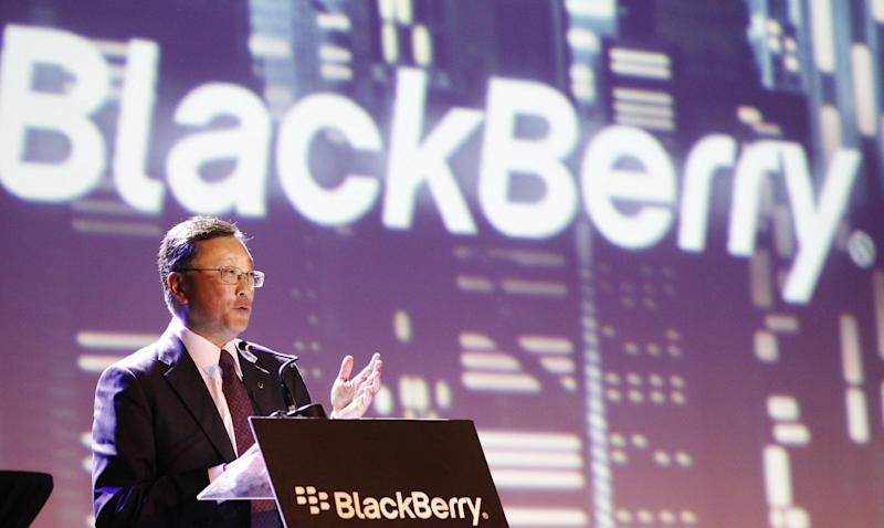 BlackBerry's CEO John Chen delivery his speech during the launch of the new Blackberry Z3 smartphone in Jakarta, Indonesia, Tuesday, May 13, 2014. The Z3 is priced at $200. (AP Photo/Achmad Ibrahim)