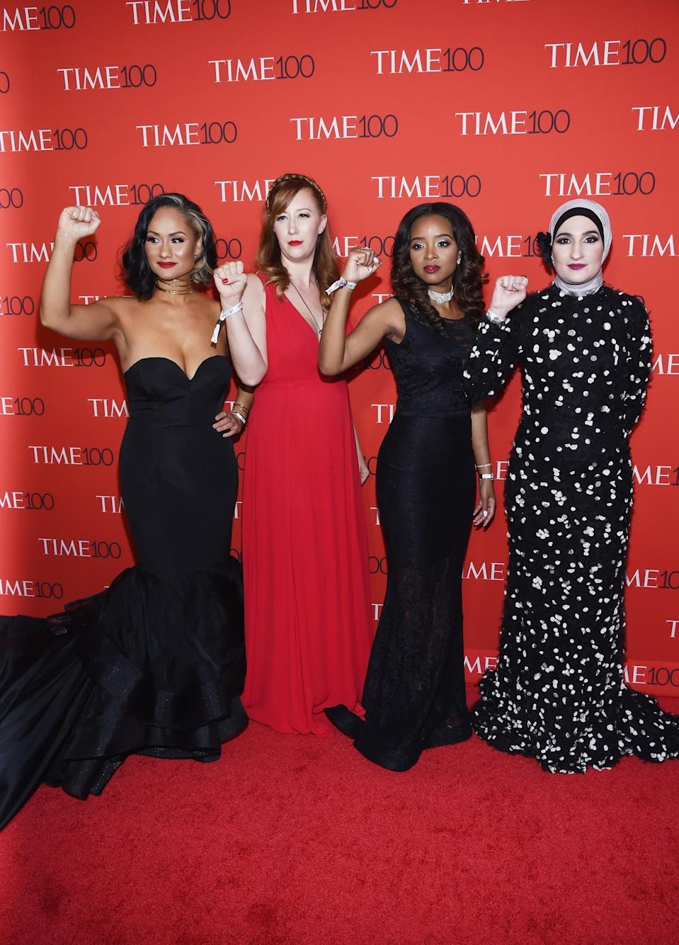 <p>The Women's March National co-chairs were as strong as ever on the red carpet. (Photo: Reuters) </p>
