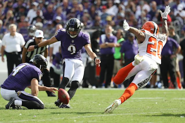 Expect Justin Tucker to let it fly in a divisional matchup against the Browns in Week 5. (Photo by Rob Carr /Getty Images)