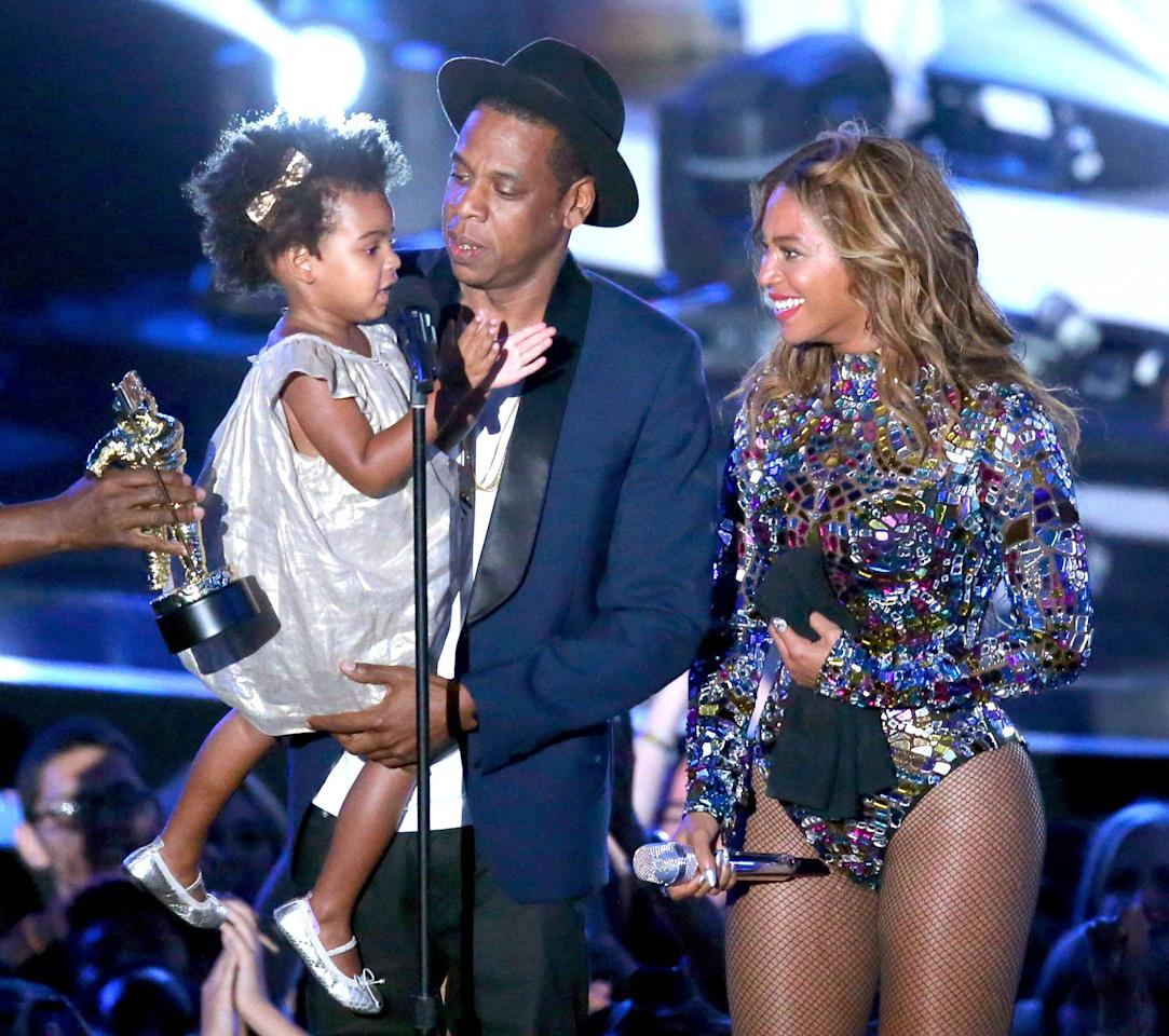 Blue Ivy Carter, Jay Z and Beyonce onstage during the 2014 MTV Video Music Awards at The Forum in Inglewood, California, Aug. 24, 2014.