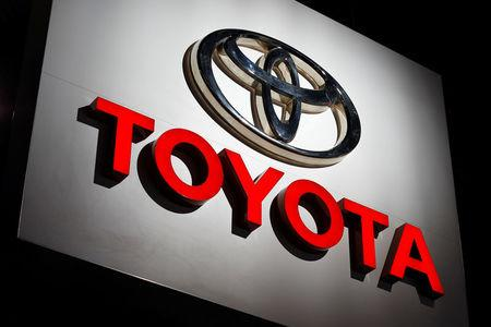 The Toyota logo is shown at the Los Angeles Auto Show