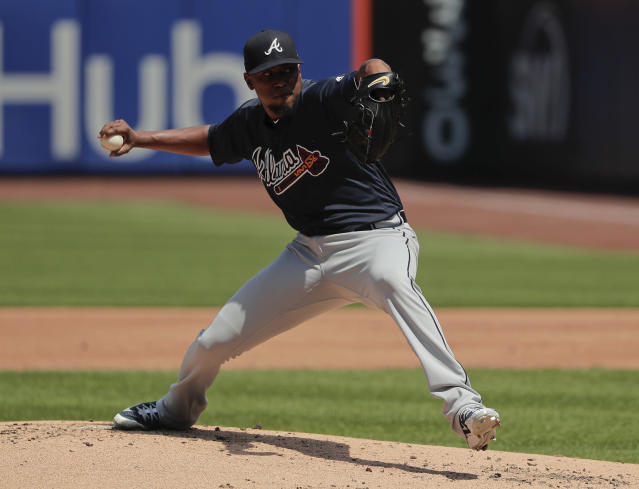 "<a class=""link rapid-noclick-resp"" href=""/mlb/players/8846/"" data-ylk=""slk:Julio Teheran"">Julio Teheran</a> was locked in against the Mets (AP Photo/Julie Jacobson)"