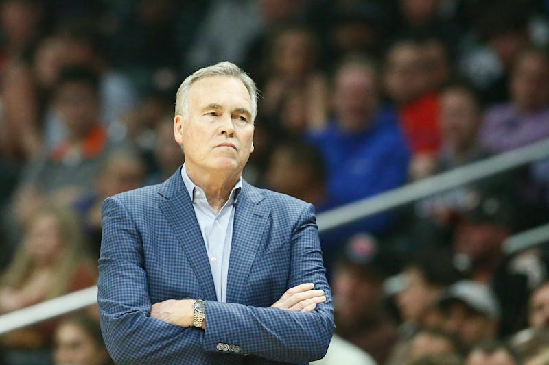 LOS ANGELES, CA - APRIL 3: Head Coach Mike D'Antoni of the Houston Rockets looks on during the game against the LA Clippers on April 3, 2019 at STAPLES Center in Los Angeles, California. NOTE TO USER: User expressly acknowledges and agrees that, by downloading and/or using this Photograph, user is consenting to the terms and conditions of the Getty Images License Agreement. Mandatory Copyright Notice: Copyright 2019 NBAE (Photo by Chris Elise/NBAE via Getty Images)