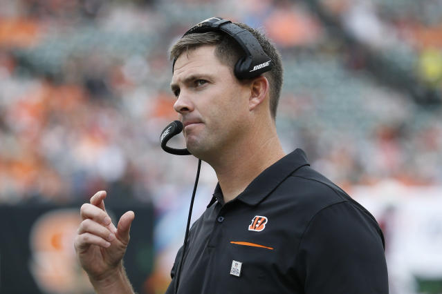 Cincinnati Bengals head coach Zac Taylor works the sideline in the first half of an NFL football game against the Arizona Cardinals, Sunday, Oct. 6, 2019, in Cincinnati. (AP Photo/Frank Victores)