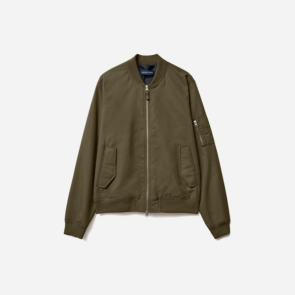 """<p><strong>Everlane</strong></p><p>everlane.com</p><p><strong>$98.00</strong></p><p><a href=""""https://go.redirectingat.com?id=74968X1596630&url=https%3A%2F%2Fwww.everlane.com%2Fproducts%2Fmens-uniform-bomber-jacket-olive&sref=https%3A%2F%2Fwww.esquire.com%2Fstyle%2Fadvice%2Fg2995%2Fbest-fall-coats-jackets%2F"""" rel=""""nofollow noopener"""" target=""""_blank"""" data-ylk=""""slk:Shop Now"""" class=""""link rapid-noclick-resp"""">Shop Now</a></p><p>Ah, the bomber jacket. Like many toppers, it traces its history back to the military, and has since been worn by every man about town worth their salt. And if you're looking to join the club (if you haven't already), perennial fave Everlane has one that you will most likely wear to exhaustion. </p>"""