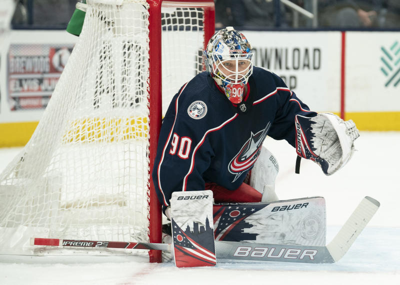 Columbus Blue Jackets goaltender Elvis Merzlikins (90)