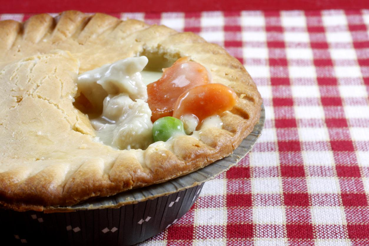 "<p>When made from scratch, chicken pot pie is not especially unhealthy, but when purchased frozen it can be a nutritional nightmare. Dr. Tavel of Indiana University notes that a typical chicken pot pie might contains 22 grams of saturated fat ""and possess 'only' 1,040 calories."" <a href=""http://www.thedailymeal.com/best-recipes/chicken-pot-pie?referrer=yahoo&category=beauty_food&include_utm=1&utm_medium=referral&utm_source=yahoo&utm_campaign=feed"">Chicken pot pie is easy to make from scratch</a>, if you'd like to stay away from the frozen, processed kind.</p>"