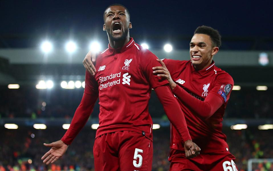 Georginio Wijnaldum of Liverpool celebrates after scoring his team's third goal during the UEFA Champions League Semi Final second leg match between Liverpool and Barcelona at Anfield on May 07, 2019 in Liverpool, England - Getty Images Europe /Clive Brunskill