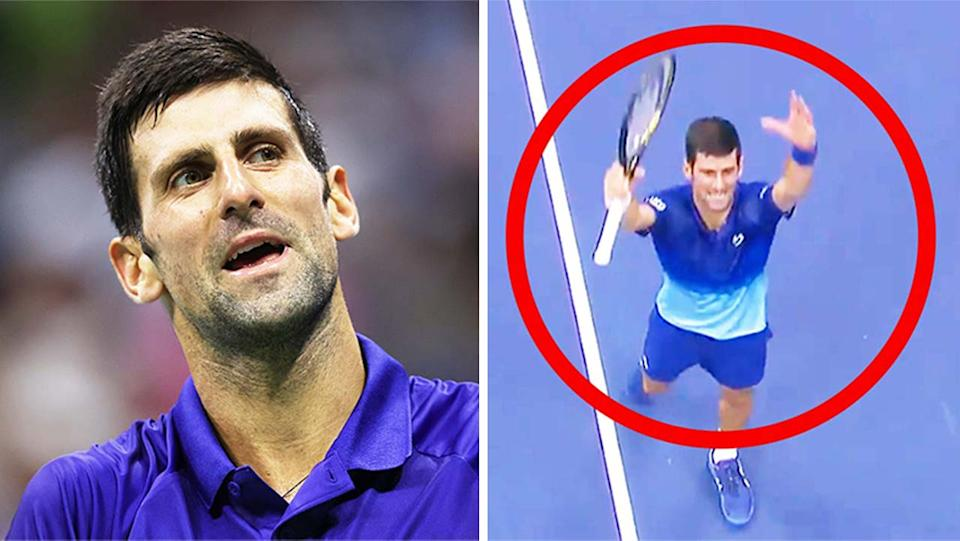 Novak Djokovic (pictured left) reacting to a point and (pictured right) thanking the crowd with his celebration after his win at the US Open.