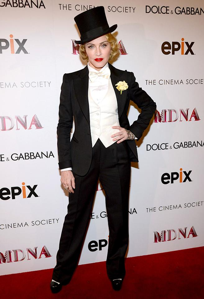 "NEW YORK, NY - JUNE 18:  Madonna attends the Dolce & Gabbana and The Cinema Society screening of the Epix World premiere of ""Madonna: The MDNA Tour"" at The Paris Theatre on June 18, 2013 in New York City.  (Photo by Kevin Mazur/WireImage)"