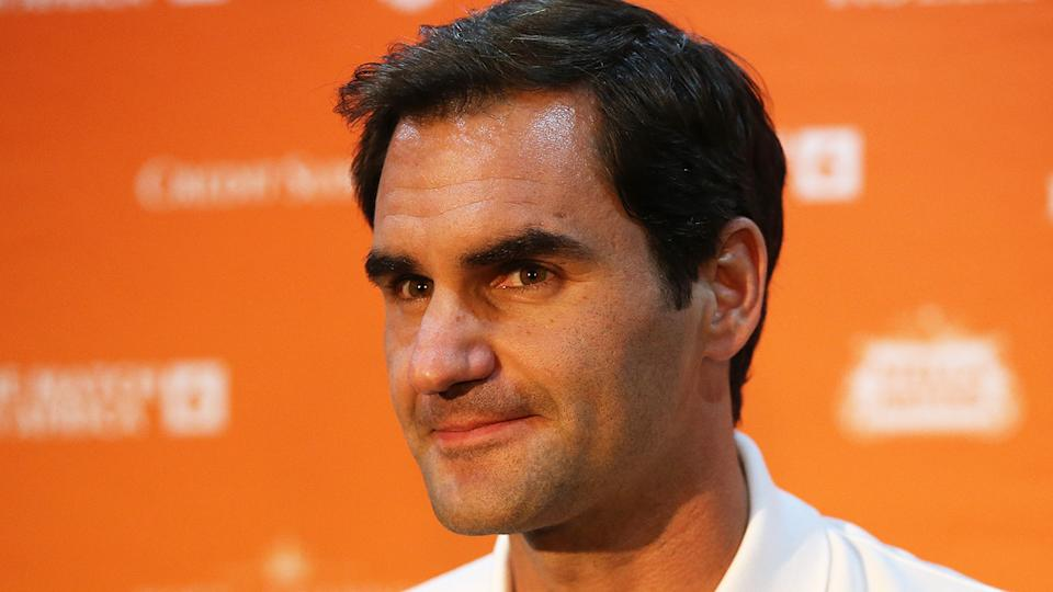 Roger Federer is pictured during a press conference.