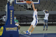 Creighton's Ryan Kalkbrenner dunks against Kennesaw State during the first half of an NCAA college basketball game in Omaha, Neb., Friday, Dec. 4, 2020. (AP Photo/Kayla Wolf)