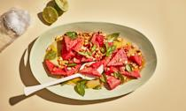 """<a href=""""https://www.bonappetit.com/recipe/watermelon-with-lime-dressing-and-peanuts?mbid=synd_yahoo_rss"""" rel=""""nofollow noopener"""" target=""""_blank"""" data-ylk=""""slk:See recipe."""" class=""""link rapid-noclick-resp"""">See recipe.</a>"""