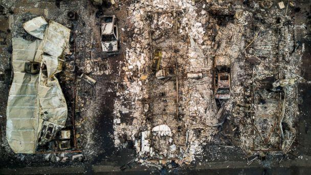 PHOTO: An aerial view of blocks of burned down homes at the Journey's End Mobile Home Park after a wildfire passed through in Santa Rosa, Calif., Oct. 10, 2017. (Josh Haner/The New York Times/Redux)