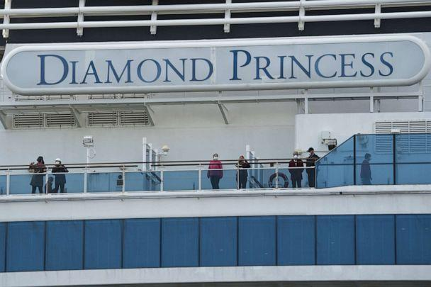 PHOTO: Passengers on board the Diamond Princess cruise ship are seen as it arrives at Daikoku Pier where it is being resupplied and newly diagnosed coronavirus cases taken for treatment as it remains in quarantine, in Yokohama, Japan, Feb. 12, 2020. (Tomohiro Ohsumi/Getty Images)