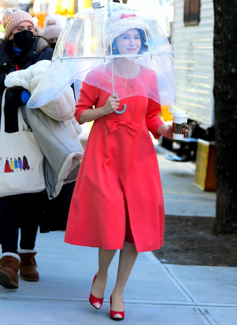 <p>Rachel Brosnahan is dressed in full character on the set of <em>The Marvelous Mrs. Maisel</em> on Tuesday in downtown N.Y.C.</p>