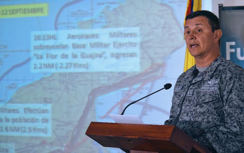 A picture released by the Colombian Defence Ministry press office shows Colombian Air Force commander Carlos Bueno speaking during a press conference in Bogota, September 14, 2015