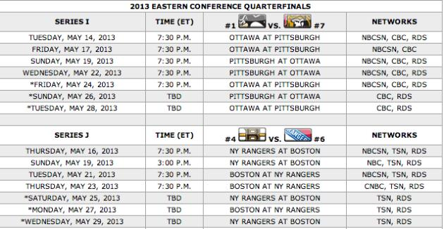 Your 2013 Stanley Cup Playoff second round TV schedule