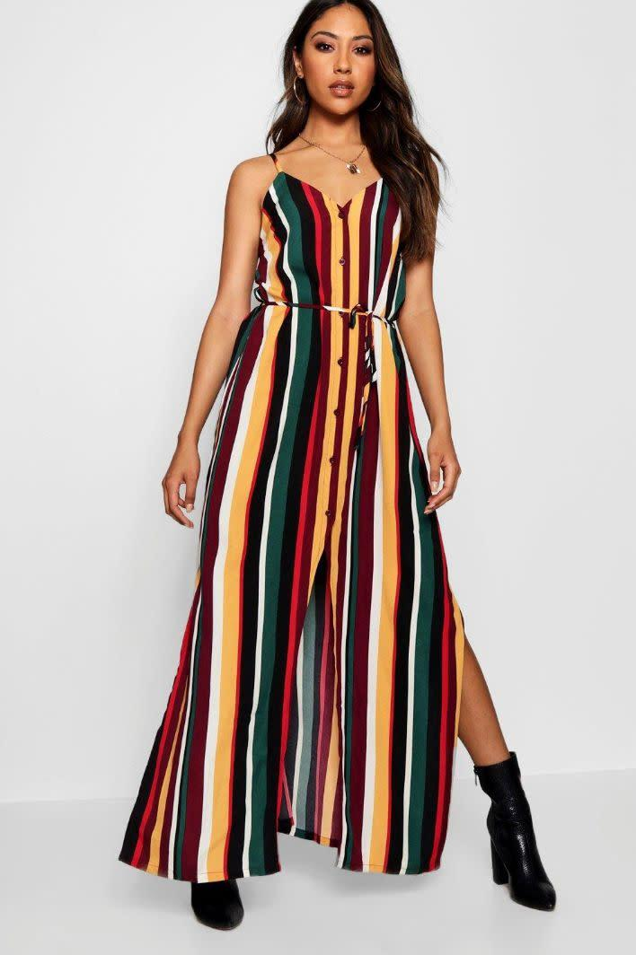 "<strong><a href=""https://us.boohoo.com/hannah-striped-button-through-maxi-dress/DZZ17377.html"" rel=""nofollow noopener"" target=""_blank"" data-ylk=""slk:BooHoo Hannah striped button-through maxi dress"" class=""link rapid-noclick-resp"">BooHoo Hannah striped button-through maxi dress</a>, $22</strong>"