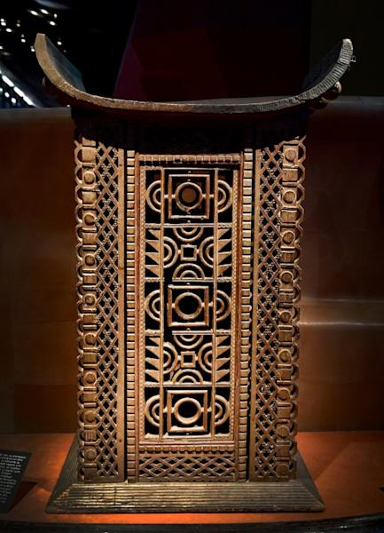King Ghezo's throne of Abomey, capital of the Dahomey kingdom in modern-day Benin, is displayed at the Quai Branly museum in Paris